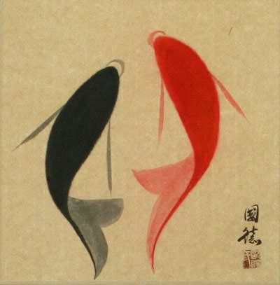 Yin Yang Fish - Abstract Asian Art Wall Scroll close up view