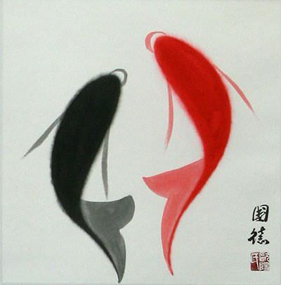Abstract Yin Yang Fish - Chinese Wall Scroll close up view