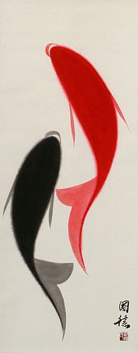 Chinese Abstract Yin Yang Fish Wall Scroll close up view