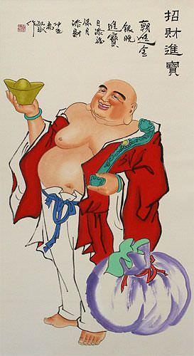 Happy Buddha Brings Treasures Chinese Wall Scroll close up view