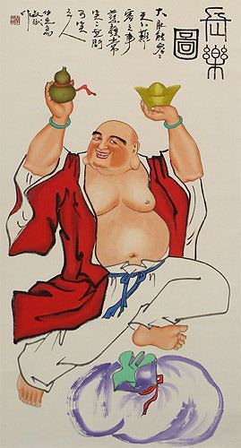 Fat Happy Buddha Wall Scroll close up view