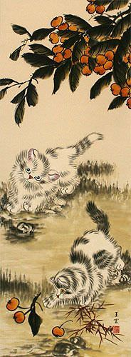Chinese Kittens - Oriental Art Scroll close up view