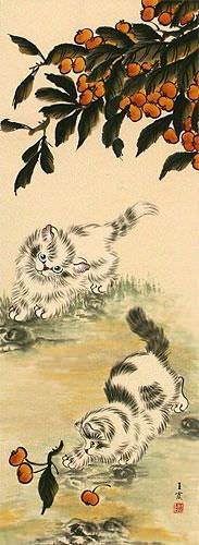 Kittens Wall Scroll close up view