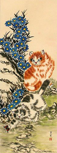 Cats / Kittens - Chinese Scroll close up view