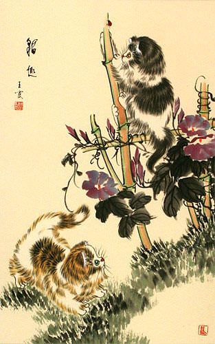 Asian Kittens - Chinese Wall Scroll close up view
