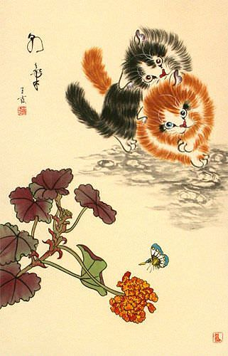 Naughty Chinese Kittens Wall Scroll close up view