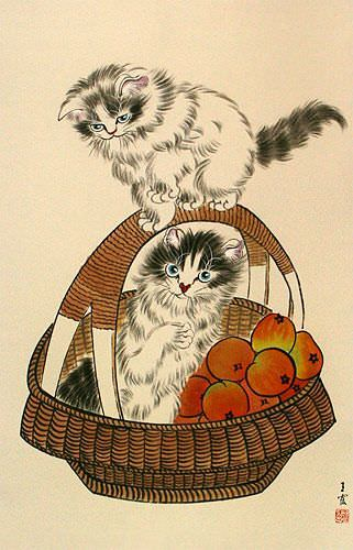 Chinese Kittens in Basket Wall Scroll close up view