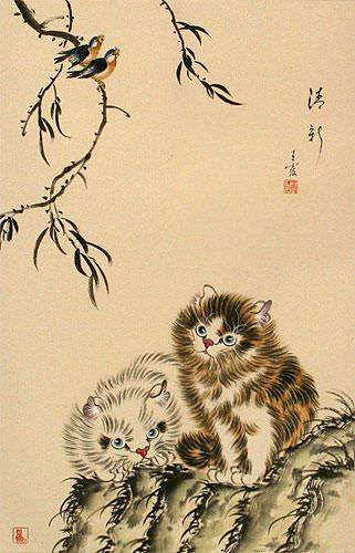 New and Fresh Kittens Wall Scroll close up view
