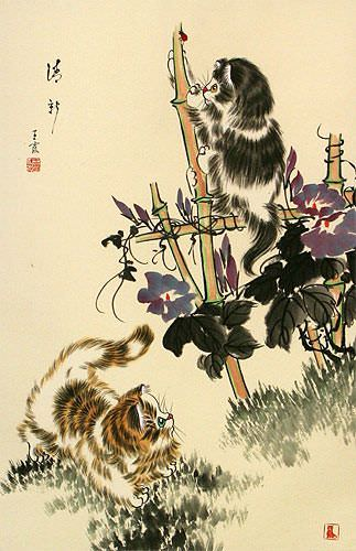 Oriental Kittens Wall Scroll close up view