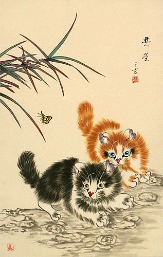Playful Chinese Kittens Wall Scroll close up view