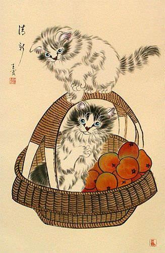 New and Fresh Kittens in a Basket Wall Scroll close up view