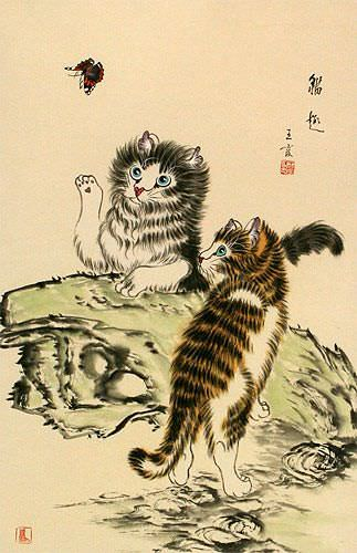 Frisky Kittens Chinese Wall Scroll close up view
