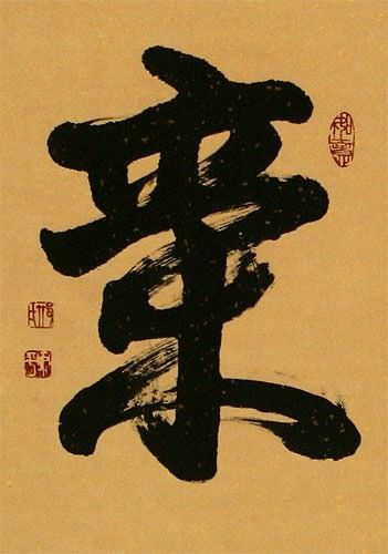 Spritual Energy - Chinese / Japanese Kanji Wall Scroll close up view