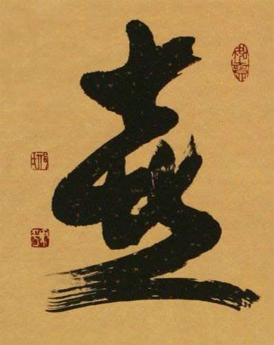 Spring / Springtime - Chinese / Japanese Kanji Wall Scroll close up view