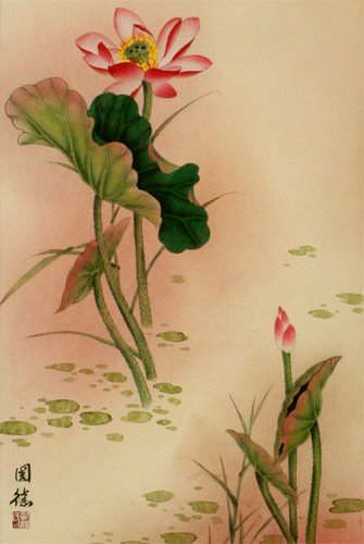 Lotus Flower and Dragonfly Wall Scroll close up view