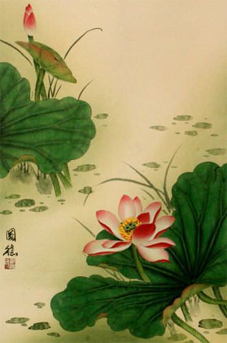 Lotus Flower Wall Scroll close up view