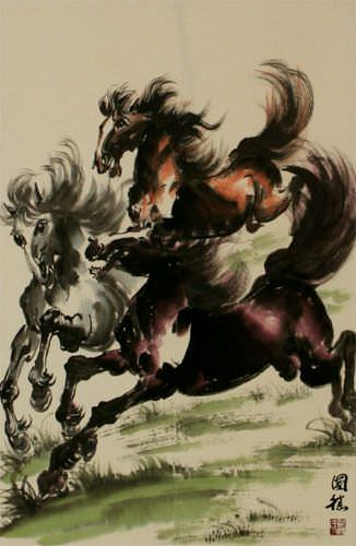 Galloping Horses Wall Scroll close up view