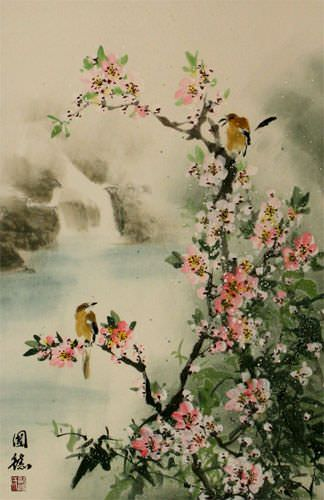 Bird & Flower Wall Scroll close up view