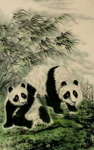 Fun-Loving Chinese Pandas Wall Scroll close up view