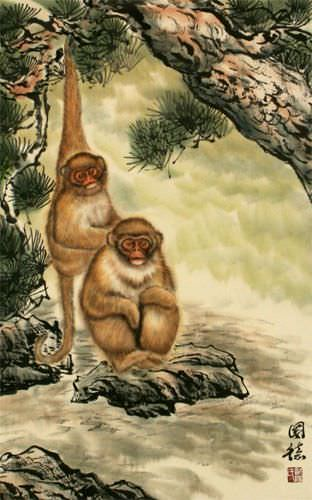 Monkeys in Pine Tree - Asian Wall Scroll close up view