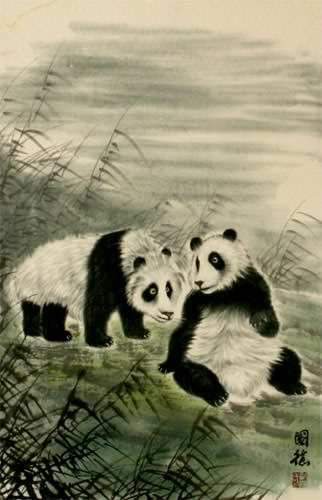 Pandas of China Wall Scroll close up view