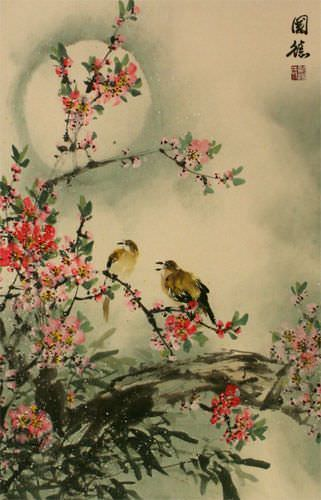 Bird & Peach Blossom - Flower Wall Scroll close up view