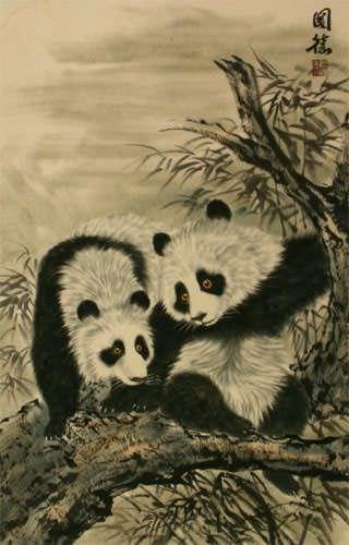 Chinese Pandas Wall Scroll close up view