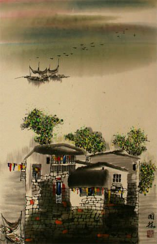 Chinese Suzhou Landscape Wall Scroll close up view