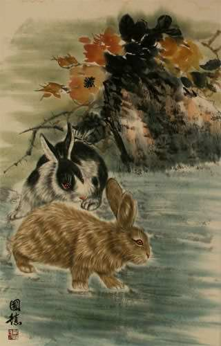 Rabbits - Chinese Wall Scroll close up view
