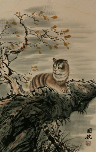 Cuddly Cat - Asian Wall Scroll close up view