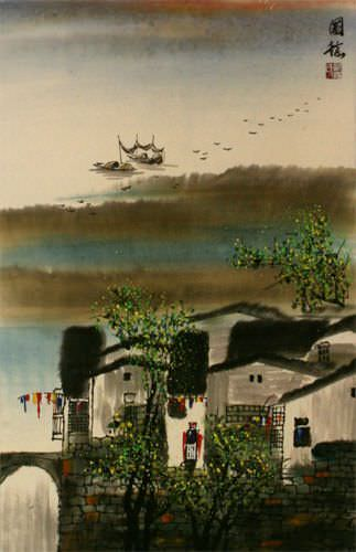 Chinese Suzhou River Landscape Wall Scroll close up view