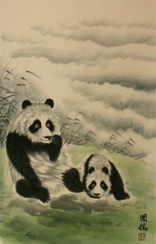 Chinese Pandas at Play Wall Scroll close up view