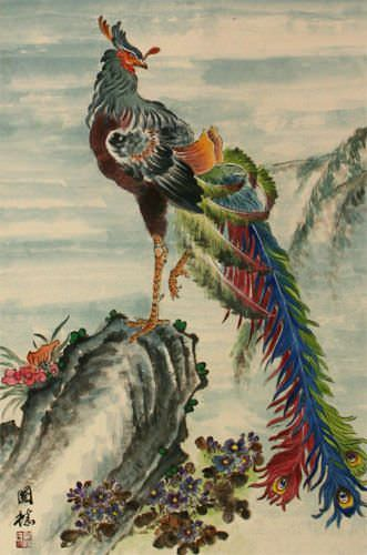 Phoenix / Golden Pheasant Wall Scroll close up view