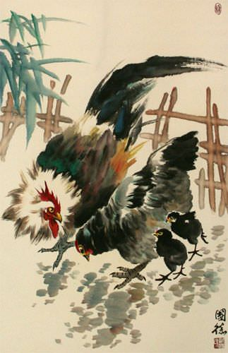 Chicken Family Wall Scroll close up view