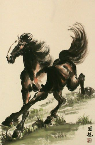 Galloping Horse Wall Scroll close up view