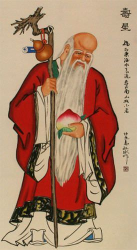 God of Longevity - Chinese Wall Scroll close up view