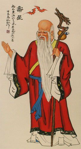 Longevity Saint Oriental Scroll close up view