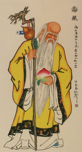 The Saint of Longevity - Chinese Wall Scroll close up view