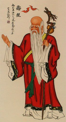 God of Longevity - Asian Wall Scroll close up view