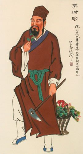 Divine Farmer - Shen Nong - Chinese Wall Scroll close up view