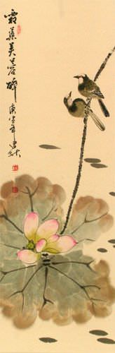 Lotus Beauty in Misty Morning Pond - Wall Scroll close up view