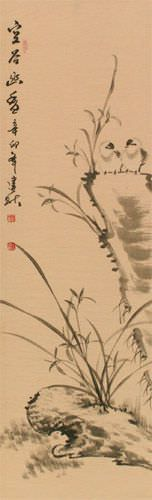 Fragrance of the Valley - Chinese Birds Wall Scroll close up view