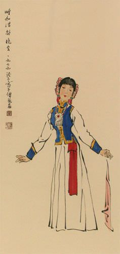 Night Festival Dancing Girl - Chinese Wall Scroll close up view