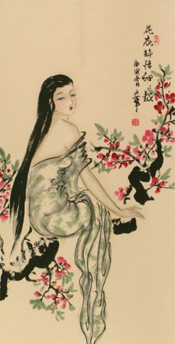 Beauty Under the Flowers Like Poetry - Chinese Wall Scroll close up view