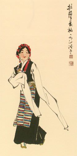 Dancing Minority Girl of Southern China Wall Scroll close up view