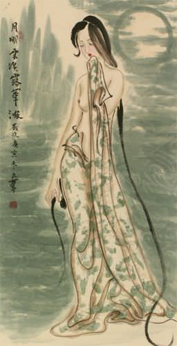 Beautiful Woman of China Wall Scroll close up view