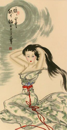 Beautiful Woman Under the Moon - Asian Wall Scroll close up view