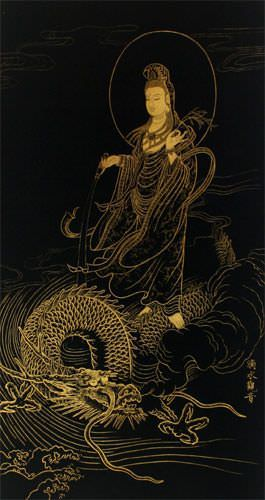 Guanyin Buddha and Dragon - Gold Etching Wall Scroll close up view