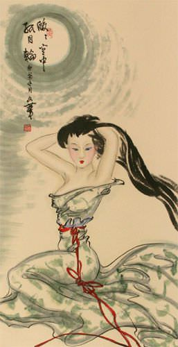 Beautiful Woman Under the Moon - Chinese Wall Scroll close up view
