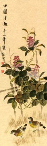 Everyday is Fun at the Ranch - Chinese Art Wall Scroll close up view